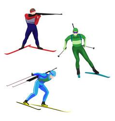biathlonists set on skis vector image