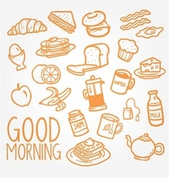 breakfast doodle vector image vector image