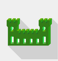 green ancient fortress icon flat style vector image vector image