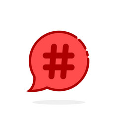 red cartoon hashtag logo on white background vector image vector image