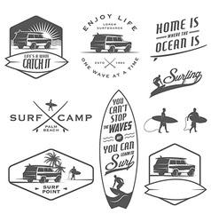 Set of vintage surfing design elements vector image