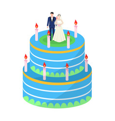A wedding cake treat guests to the wedding vector