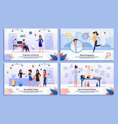 active and healthy pregnancy banners set vector image