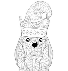 Adult coloring bookpage a cute dog with christmas vector