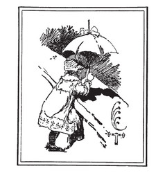 Baby with umbrella on a bridge vintage engraving vector