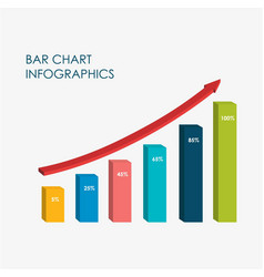 bar chart infographics elements 3d flat design vector image
