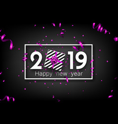 Black 2019 happy new year card with purple top vector