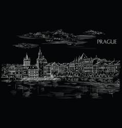 black hand drawing prague 9 2 vector image