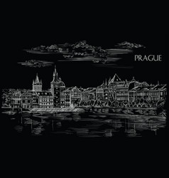 black hand drawing prague vector image