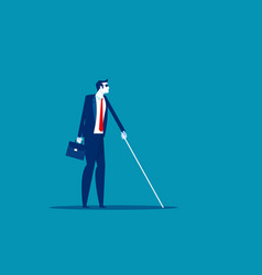 Blind man with cane walking concept business vector