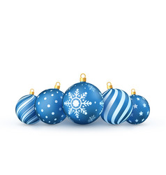 blue christmas balls set holiday decorative new vector image