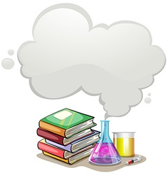 Border design with books and science equipment vector