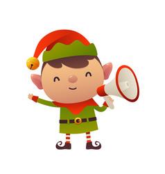 cheerful cute cartoon christmas elf with vector image