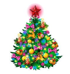 christmas tree with colorful balls star toys vector image