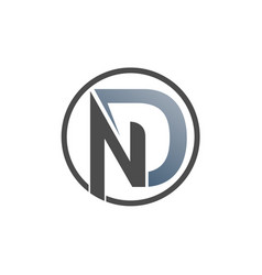 circle nd logo letter with grey colour gradation vector image