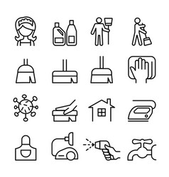 cleaning housekeeping hygiene icon set vector image