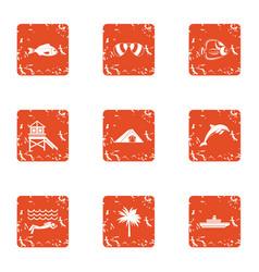 Coastal fun icons set grunge style vector