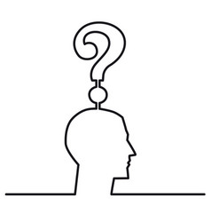continuous one line drawing head with a question vector image