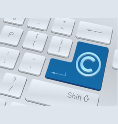 copyright sign on white computer keyboard vector image