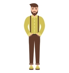 cute cartoon hipster man isolated on white vector image