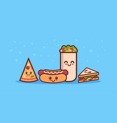 cute sandwich pizza hot dog and shaverma fast food vector image