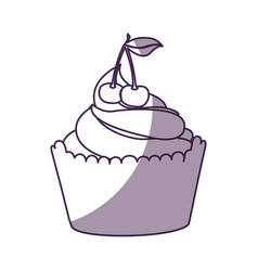 Delicious cupcake with cherry isolated icon vector
