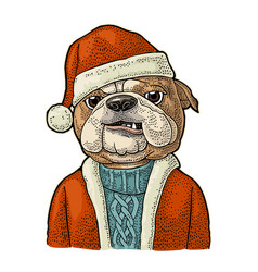 Dog santa claus in hat coat happy new year vector
