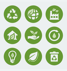 ecology and recycling icons set vector image