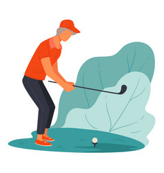 Elderly character playing golf on course active vector