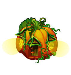 fairy house in form of ripe pumpkin with glowing vector image
