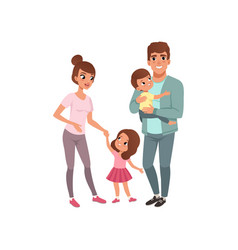 family couple with two kids parents with their vector image