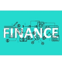 finance concept flat line design with icons vector image