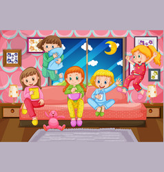 Five girls having slumber party at night vector
