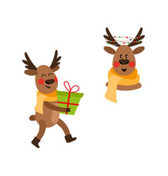 flat christmas reindeer isolated set vector image