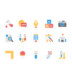 flat icons collection of education school studen vector image