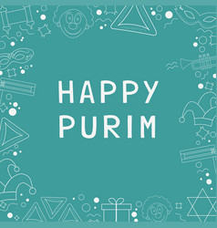 Frame with purim holiday flat design white thin vector