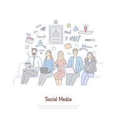 Friends communicating in digital space vector