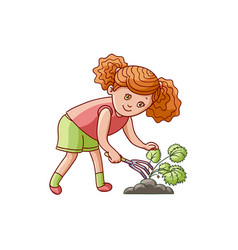 Girl scratching ground caring for a garden plant vector
