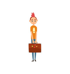 girl standing with suitcase people traveling on vector image