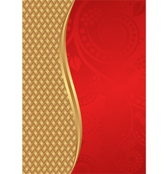 Gold and red background with floral ornaments vector