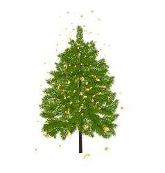Green lush fir decorated with gold confetti Fir vector