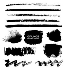 Grunge paint rough strokes lines brushes vector