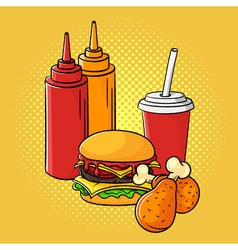 hand drawn pop art of ketchup and mustard burger vector image