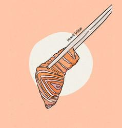 Hand holding salmon sashimi using chopsticks vector