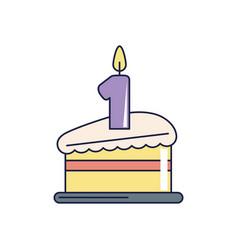 happy birthday slice cake with candle celebration vector image