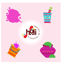 Happy holi festival holi colored icons with vector