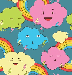 happy rainy color clouds seamless pattern vector image