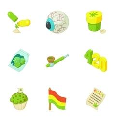 Hashish icons set cartoon style vector