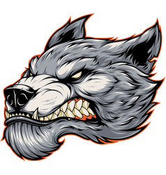 head of a fierce werewolf wolf vector image