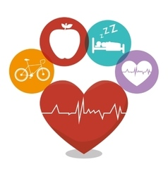 Healthy heart cardio icon vector